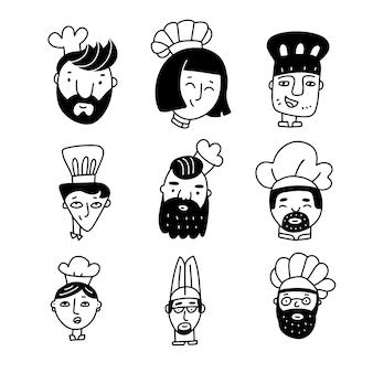 シェフの料理人のセットは、落書きスタイルの男性と女性のキャラクターで手描きの漫画の顔をシェフの帽子の簡単なイラストで調理します