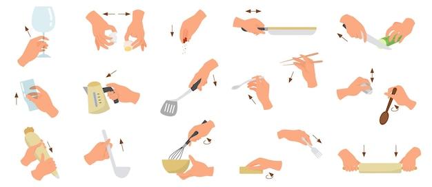 さまざまなジェスチャーを示すシェフまたは炊飯器の手のセット。若い白人