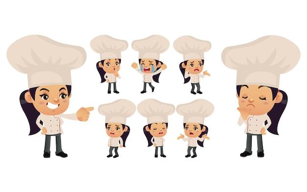 Набор шеф-повара с разными эмоциями