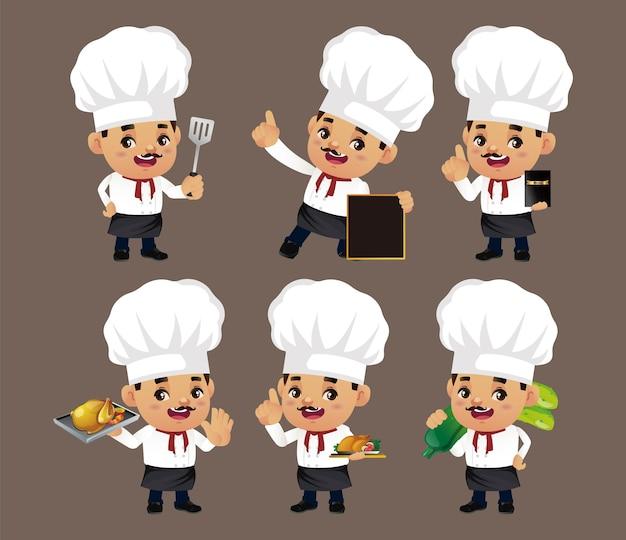 다른 포즈의 요리사 세트