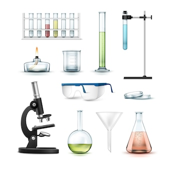 Комплект химического лабораторного оборудования пробирки, колбы, химический стакан, стаканы, чашка петри, спиртовая горелка, оптический микроскоп и воронка