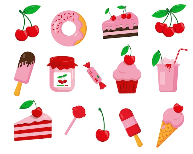 Набор вишневых десертов. сладкие значки, изолированные на белом фоне.