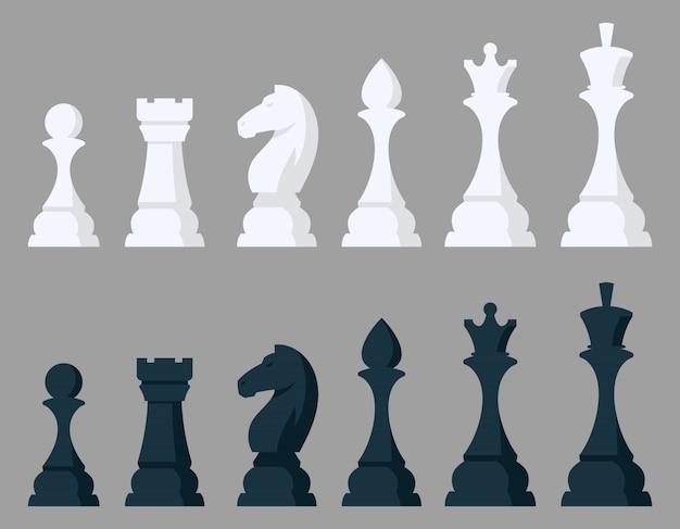 チェスの駒のセットです。漫画のスタイルの黒と白のオブジェクト。