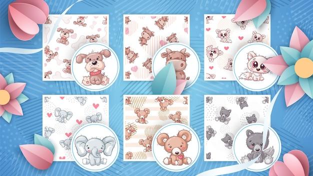 Набор детских иллюстраций животных