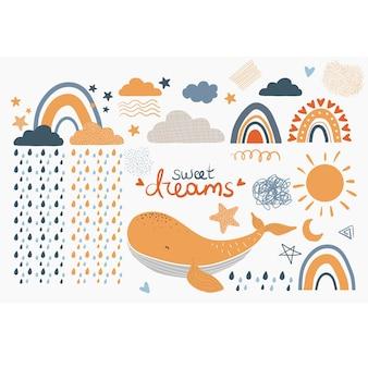 保育園の質感のためのスカンジナビアスタイルの幼稚な手描き要素のセット