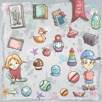 男の子と女の子のための子供のおもちゃと本のセット