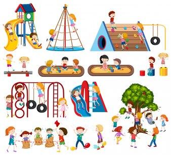 遊び場で子供たちのセット