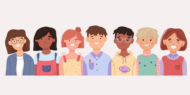 子供のアバターのセット。髪型、肌の色、民族が異なる男の子と女の子の笑顔の束。カラフルなフラットベクトルイラストは白い背景で隔離