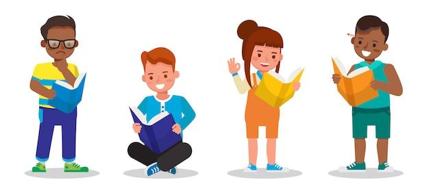 子供たちの文字のセット。子供たちは一緒に勉強し、学びます。男の子と女の子の本を読んで。いいえ4