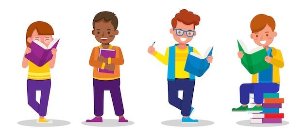 子供たちの文字のセット。子供たちは一緒に勉強し、学びます。男の子と女の子の本を読んで。