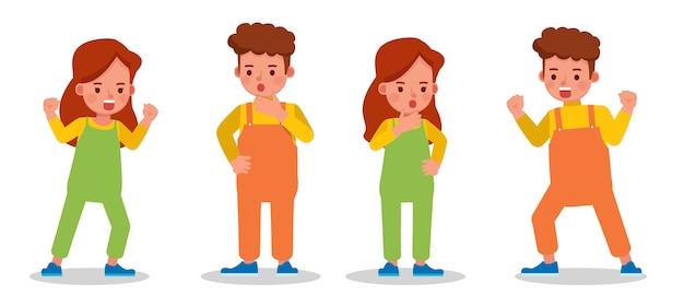 子供たちの文字のセット。感情を込めたさまざまなアクションでのプレゼンテーション