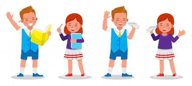 子供のキャラクター、学生のセット。