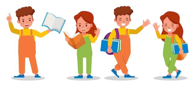 本と子供たちの文字のセット。学生。