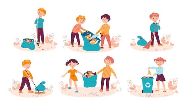 쓰레기를 가방에 모으고 쓰레기통에 쓰레기를 던지는 어린이 세트. 아이들은 자연을 청소하고 쓰레기를 재활용합니다.