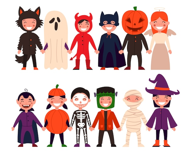 어린이 세트. 할로윈, 어린이 파티 또는 할로윈 의상을 입은 아이들. 격리 된 흰색 배경에.