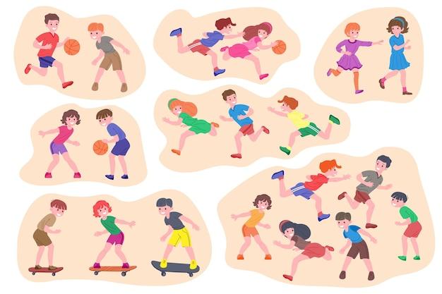 Набор детей, играющих. счастливые дети делают физические упражнения, играют в догонялки, баскетбол, спортивные игры. активное здоровое детство. плоские векторные иллюстрации шаржа, изолированные на белом фоне