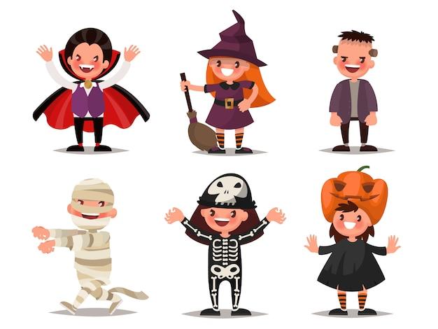 ハロウィーンの子供たちのキャラクターのセット。ドラキュラ、魔女、フランケンシュタインのモンスター、ミイラ、スケルトン、カボチャのコスチューム。図