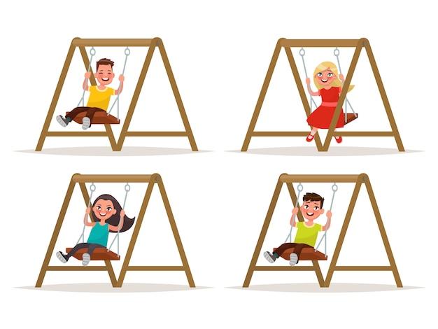 Набор детских персонажей на качелях. иллюстрация