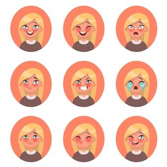 さまざまな感情を表現する子供の女の子のアバターのセット。笑顔、笑い、恐怖、困惑、怒り、涙、悲しみ、キス、ウィンク。漫画のスタイルのイラスト。