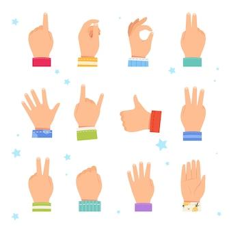 다른 제스처를 보여주는 어린이 손의 집합입니다.