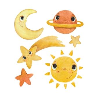 Набор детских акварельных иллюстраций с солнцем, луной и звездами