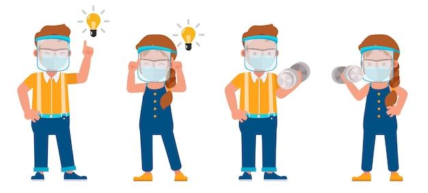 医療マスクと顔面シールドのキャラクターを身に着けている子供のセットです。さまざまなアクションでのプレゼンテーション。