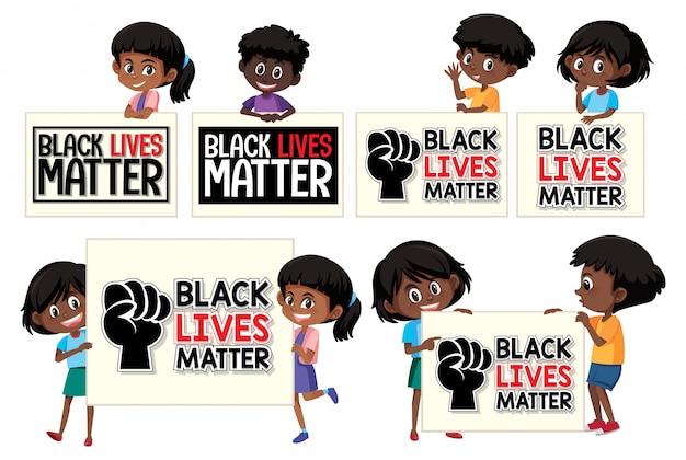 黒い生活の問題のバナーを持つ子供たちのセット