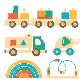 Набор детских деревянных игрушек. развивающие логические игрушки для дошкольников. иллюстрации в мультяшном стиле.