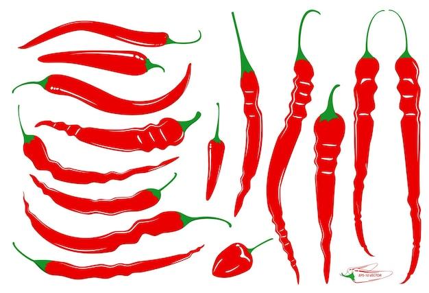 チリレッドホットまたはチリ食品成分コンセプトepsベクトルのセット
