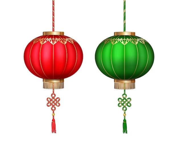 흰색 바탕에 대 한 중국 등불 세트