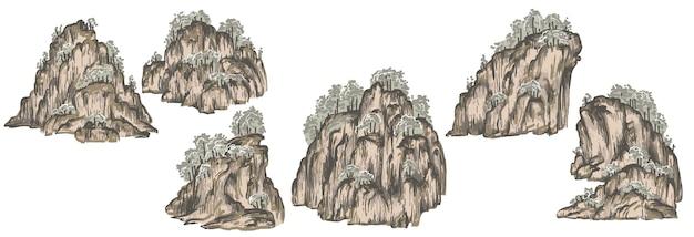Набор китайских гор для традиционного пейзажа