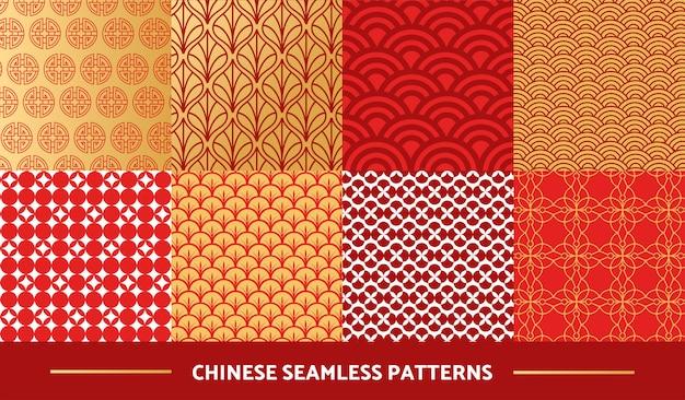 中国のシームレスパターンのセット Premiumベクター