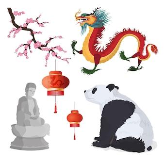 Набор китайских символов. панда, красный бумажный фонарь, статуя будды, красный китайский дракон, сакура.