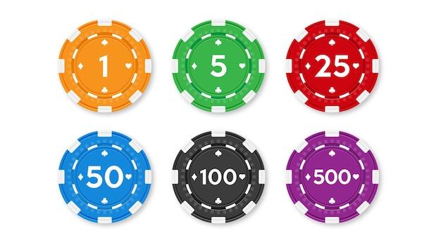 ポーカーとカジノ用のチップのセット。