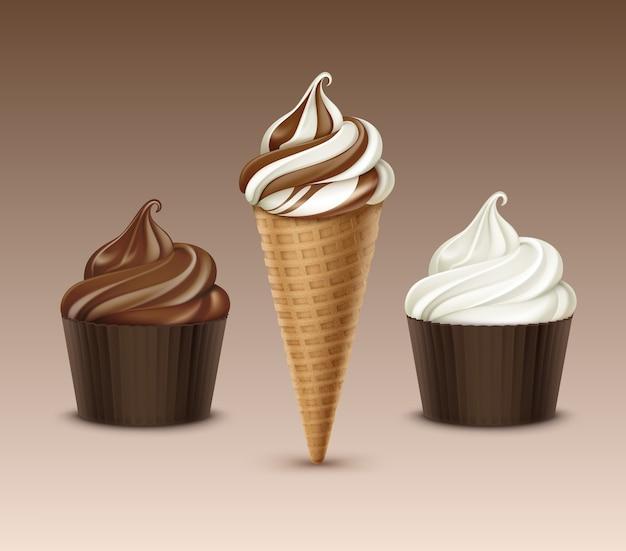 チョコレートアイスクリームワッフルコーンのセット