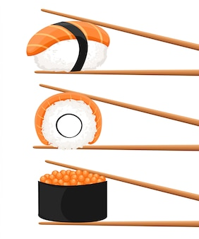 寿司ロールを保持している箸のセット。スナック、susi、エキゾチックな栄養、寿司レストラン、シーフードのコンセプトです。白い背景の上。スタイルトレンドモダンなロゴタイプの図