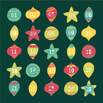 クリスマスアドベントカレンダークリスマスボールのセット
