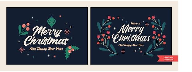 Набор шаблонов цветочных открыток рождества и нового года модный ретро-стиль