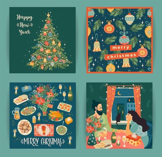 トレンディな漫画スタイルのクリスマスと新年あけましておめでとうございますのイラストのセット