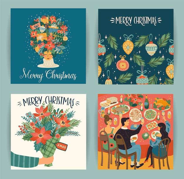 トレンディなレトロなスタイルのクリスマスと新年あけましておめでとうございますのイラストのセット