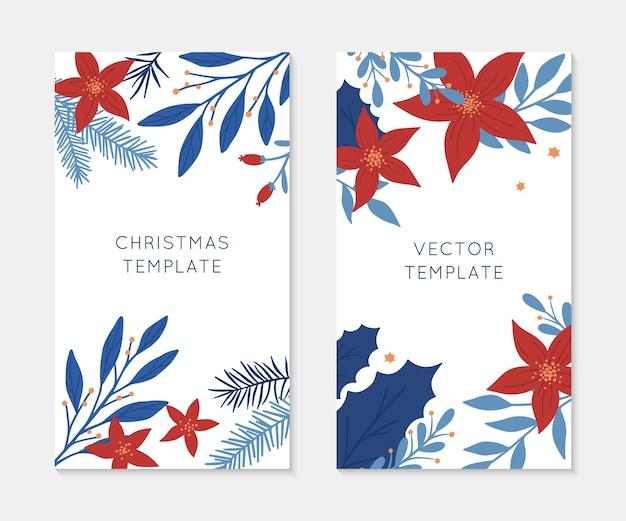 Набор шаблонов историй insta рождества и счастливого нового года. праздничная реклама и рекламные концепции. современные векторные макеты. рождественский модный дизайн для маркетинга в социальных сетях, цифровой пост, принты, баннеры.