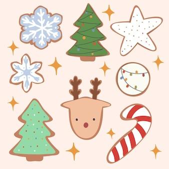 クリスマスと新年のクッキーのセット。ベクトル手描きイラスト。漫画のスタイル。フラットなデザイン