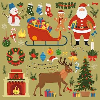 Набор рождественских и новогодних элементов и украшений. иллюстрация.