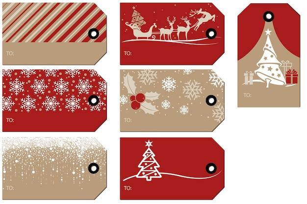 Набор рождественских и новогодних подарочных тегов