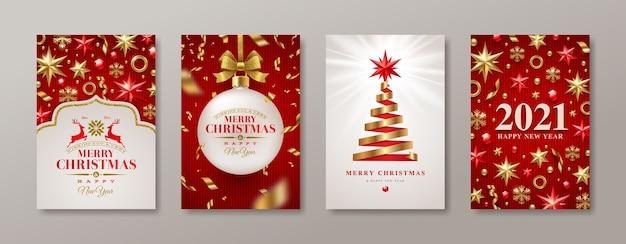 크리스마스와 새 해 인사 카드의 집합입니다. 새해 포스터.