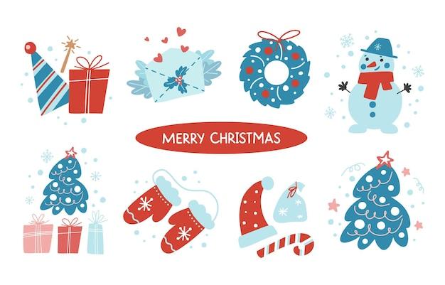 白い背景で隔離のクリスマスと新年の手描きパターンのセット