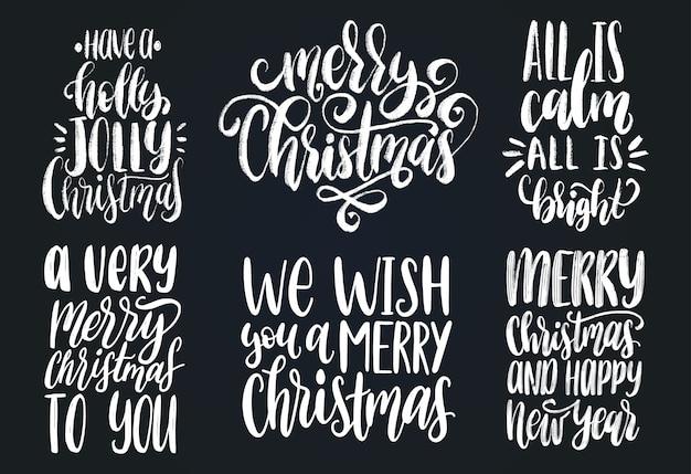 Набор рождественских и новогодних рукописных надписей