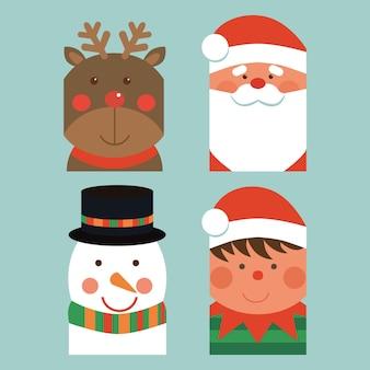 Набор рождественских и новогодних этикеток с эльфийским снеговиком и векторной иллюстрацией санта