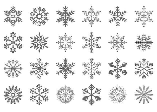 灰色のクリスマスと新年の雪片のセット。デザインの要素。白い背景で隔離のベクトルイラスト。