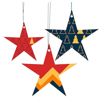 クリスマスと新年の装飾のセット幾何学的なスタイルのレトロなヴィンテージ星のイラスト